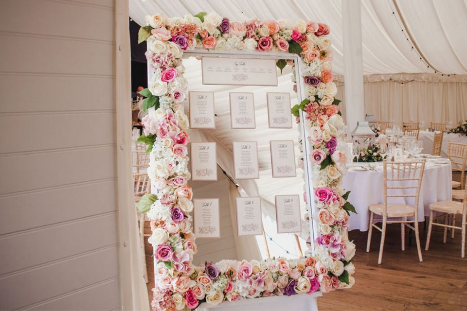 Live Wedding Band Hire - Deluxe Blush Floral Frame