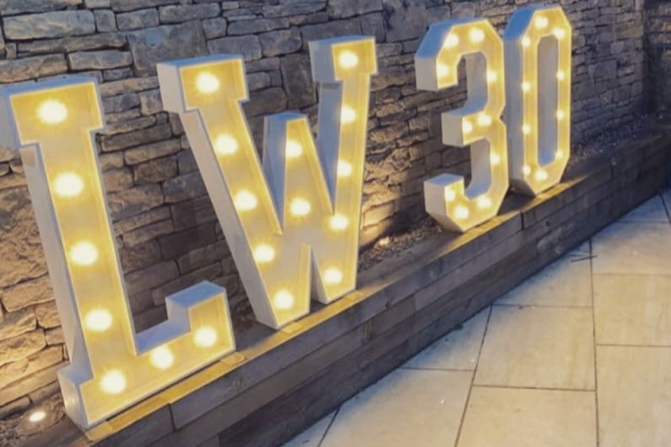 Wetherby Wedding Decor, Styling & Prop Hire - White Letters And Numbers