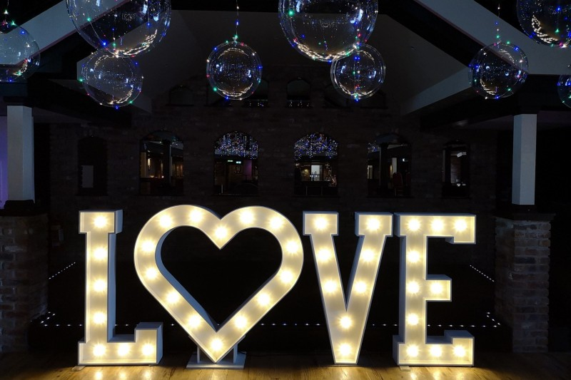 Light Up Love letters to Hire in Wetherby Yorkshire