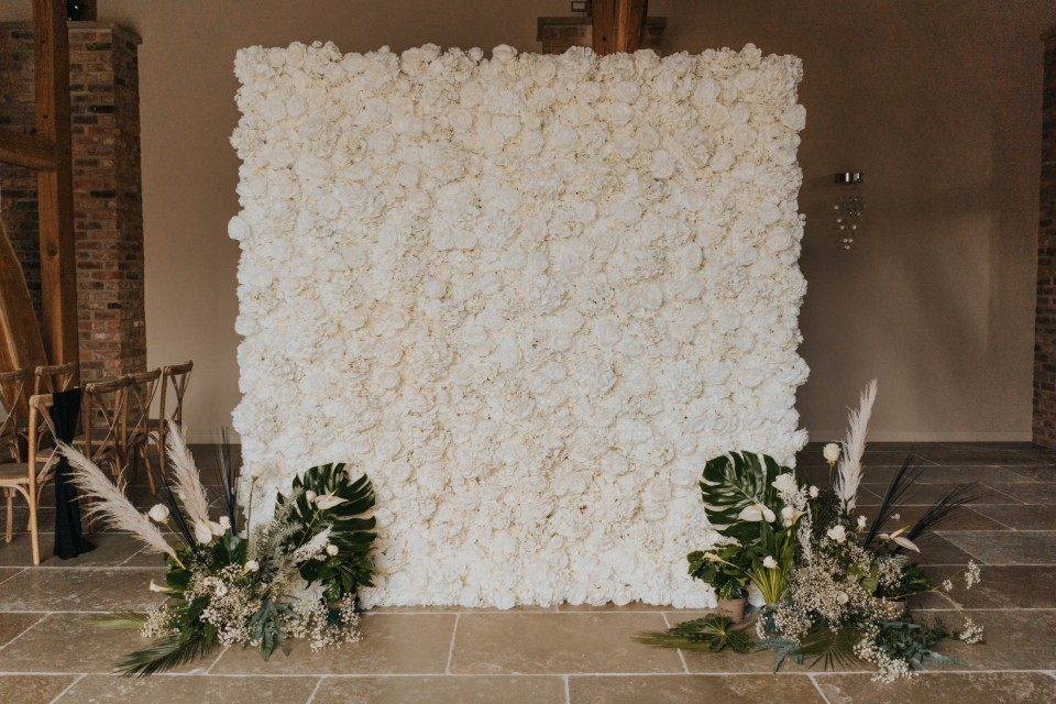 Live Wedding Band Hire - Classic Ivory Flower Wall