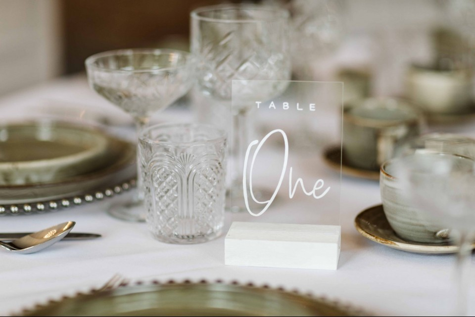Wiltshire Wedding Decor, Styling & Prop Hire - Clear Acrylic Table Numbers