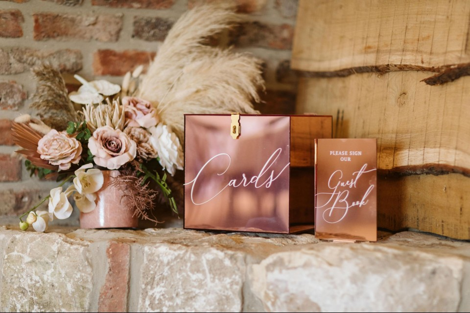 Welwyn Garden City Wedding Decor, Styling & Prop Hire - Copper Card Postbox and Sign