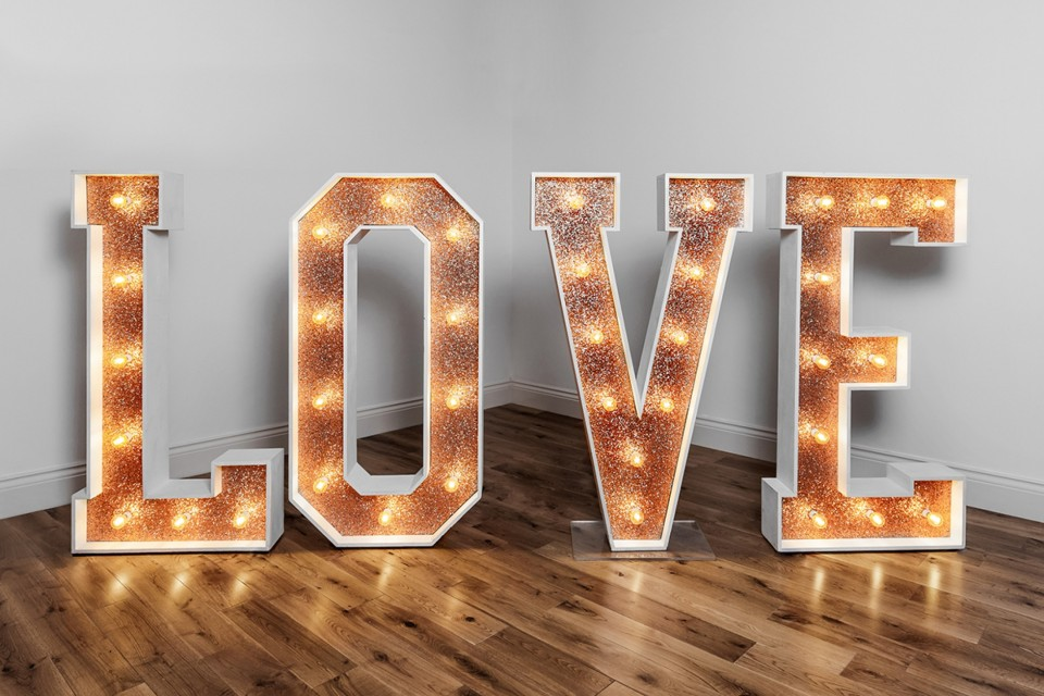 Exeter Wedding Decor, Styling & Prop Hire - Copper Glitter Love
