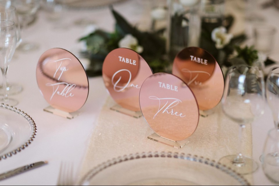 Welwyn Garden City Wedding Decor, Styling & Prop Hire - Copper Mirrored Table Numbers