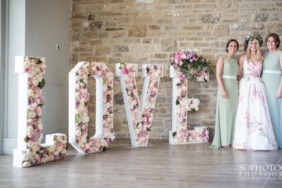 Wedding Decor, Styling, Prop Hire - Sheffield - Floral Love Letters