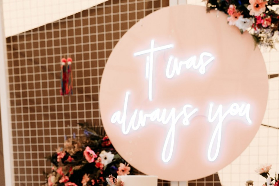 Live Wedding Band Hire - Neon 'it was always you' on Blush Pink Circle
