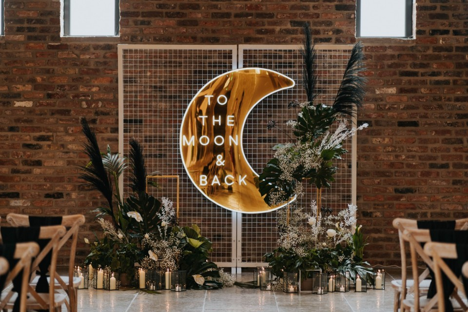 Berkshire Wedding Decor, Styling - Prop Hire. - Neon 'to the moon and back'