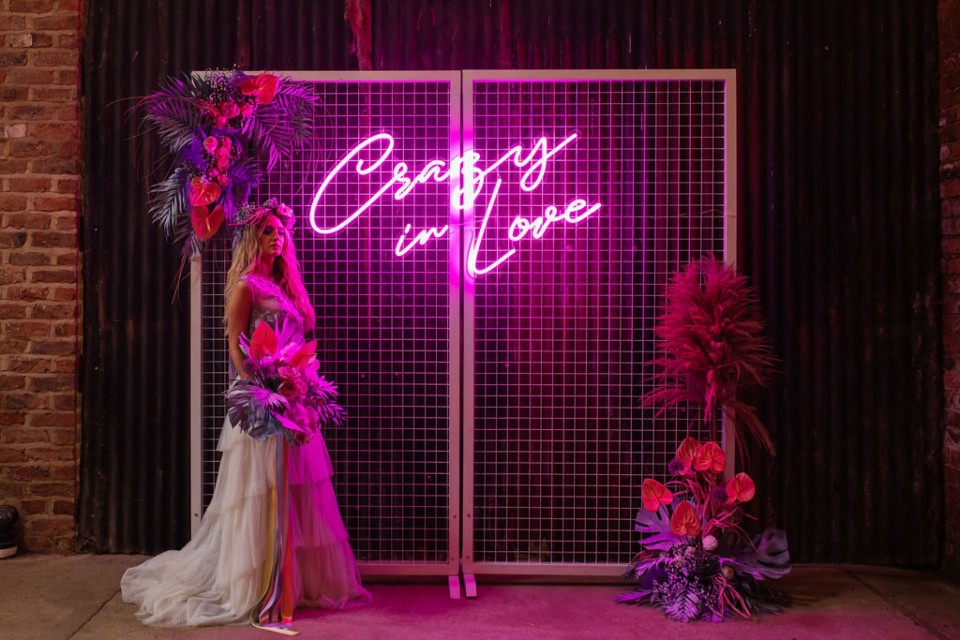 Berkshire Wedding Decor, Styling - Prop Hire. - Pink Neon 'Crazy In Love'