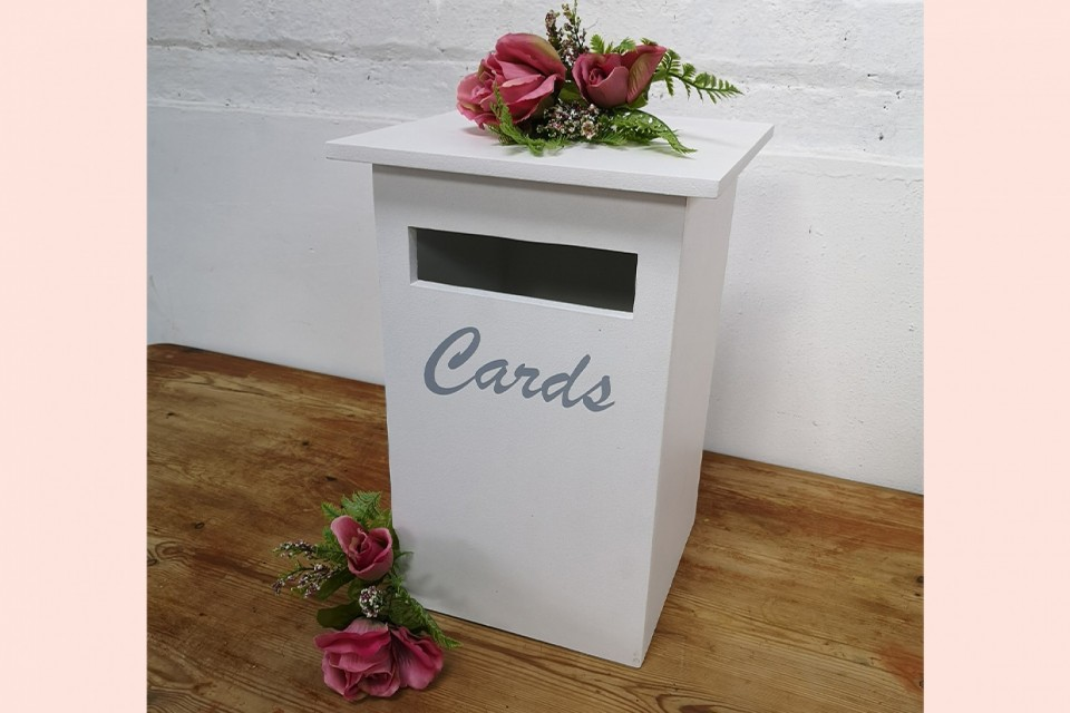 Welwyn Garden City Wedding Decor, Styling & Prop Hire - White Card Postbox
