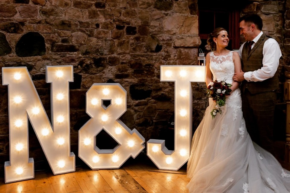 Falmouth Wedding Decor, Styling & Prop Hire - White Initials