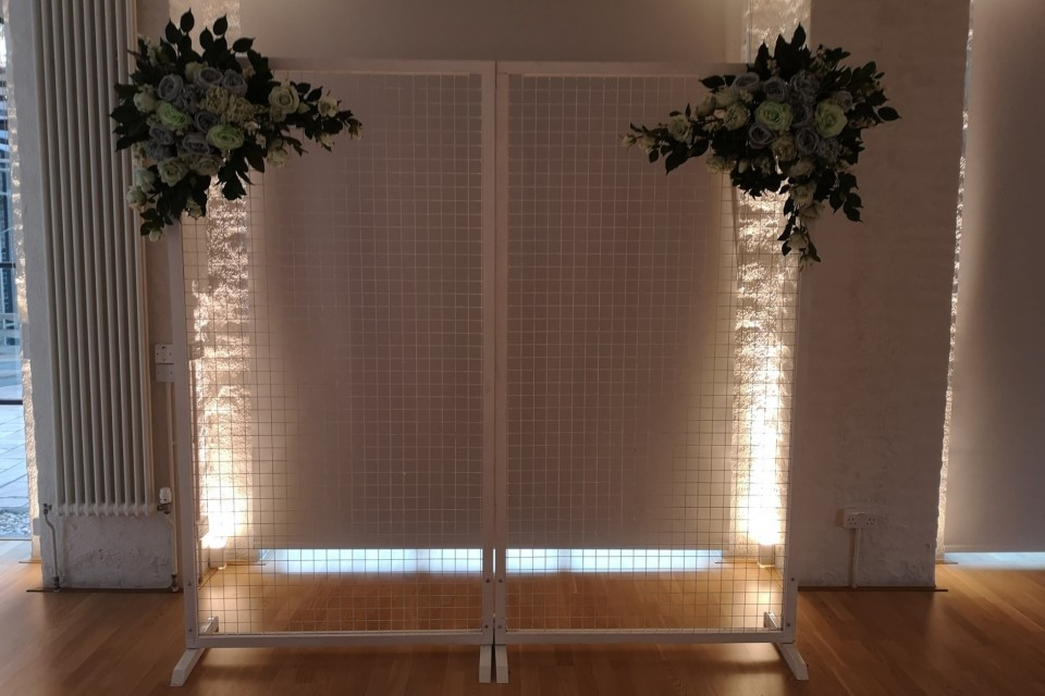 New Forest Wedding Decor, Styling & Prop Hire - White Mesh Backdrop