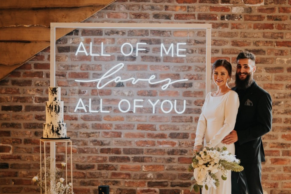 Surrey Wedding Decor, Styling & Prop Hire - White Neon 'all of me loves...'