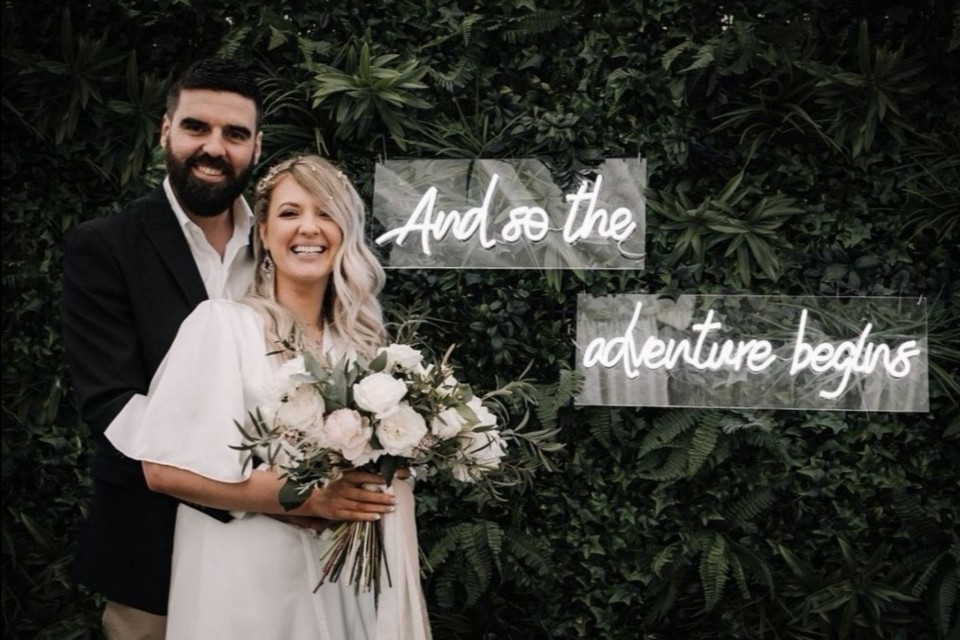 Bournemouth Wedding Decor, Styling & Prop Hire - White Neon 'and so the adventure begins'