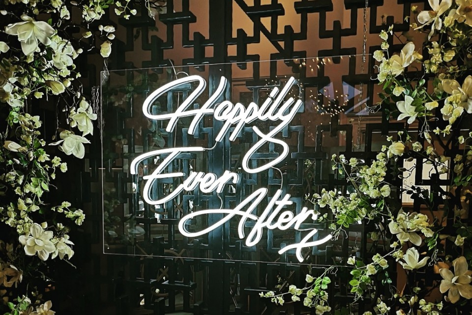 Sevenoaks Wedding Decor, Styling & Prop Hire - White Neon 'Happily Ever After'