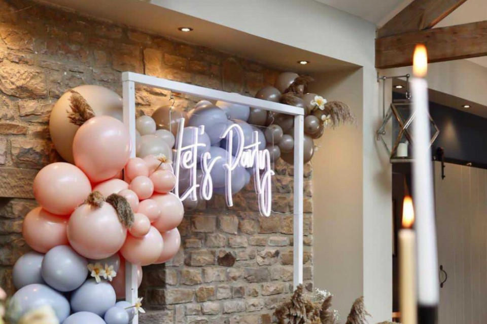 Live Wedding Band Hire - White Neon 'Let's Party' Sign