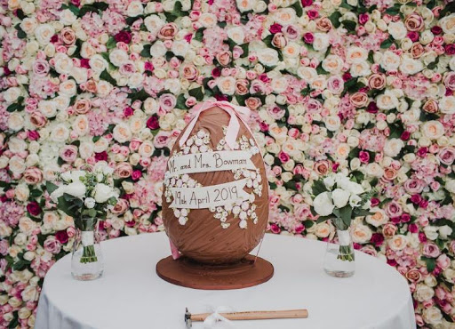 Large chocolate egg with floral background
