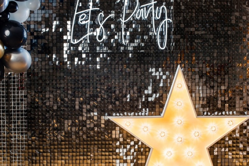 Silver Sequin Wall to Hire for Events and Weddings