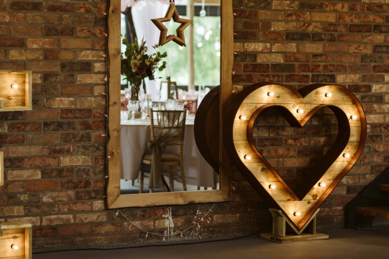 Light Up Rustic Heart to Hire across West Yorkshire