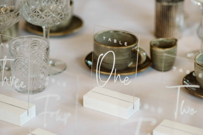 Clear Acrylic Wedding Table Number and Matching Card Box Hire Yorkshire