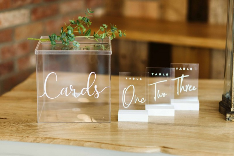 Clear Acrylic Wedding Card Postbox and matching Table Numbers for Hire