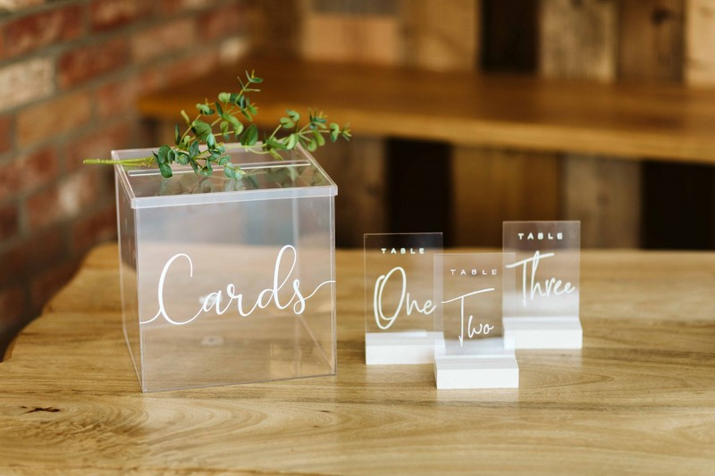 Clear Acrylic Wedding Card Box and table Number Hire Yorkshire