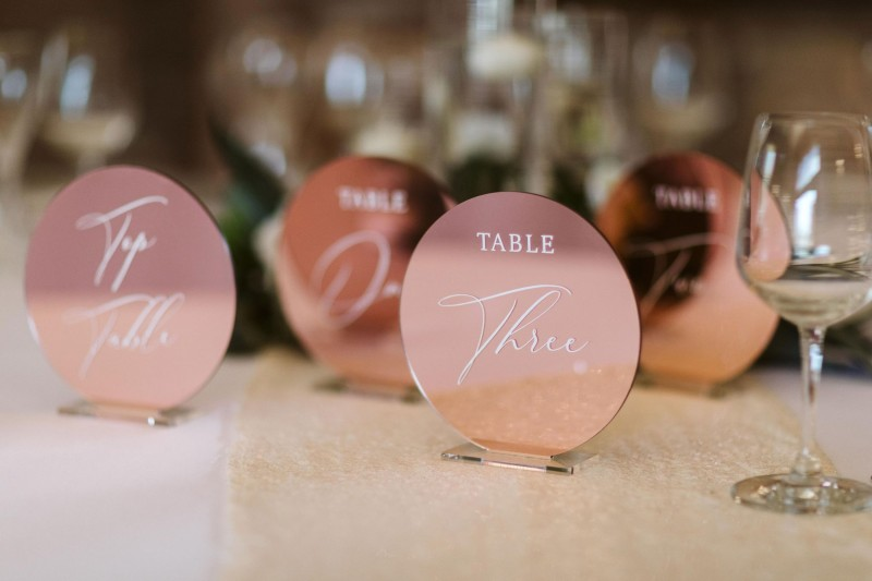 Rose Gold Mirrored Table Number Hire