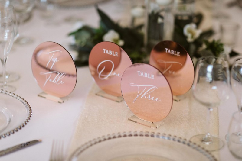 Stunning Rose Gold Table Numbers for Hire