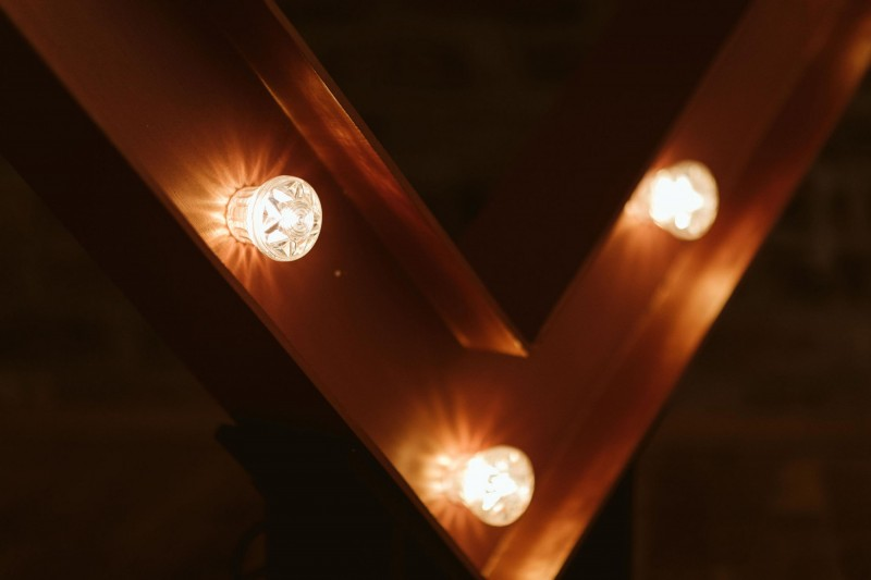 Copper Light Up Heart and Initials to hire in Sheffield