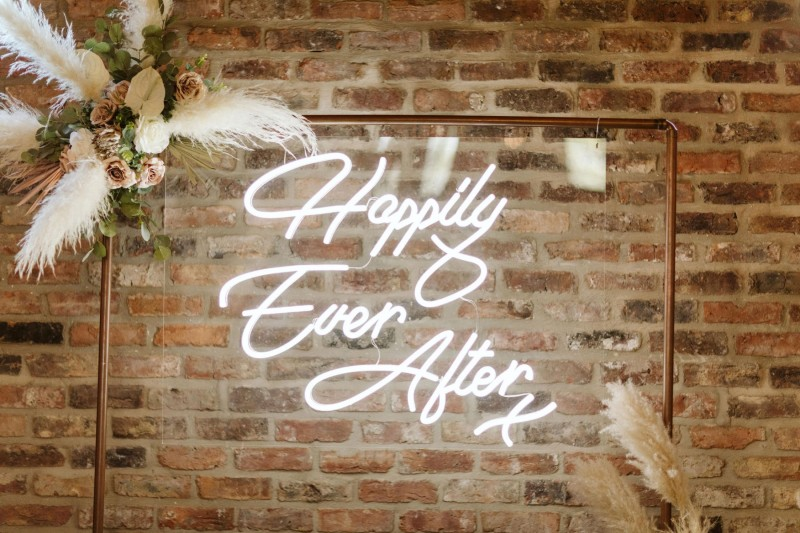 Neon Wedding Sign and Foliage Backdrop to Hire in Yorkshire