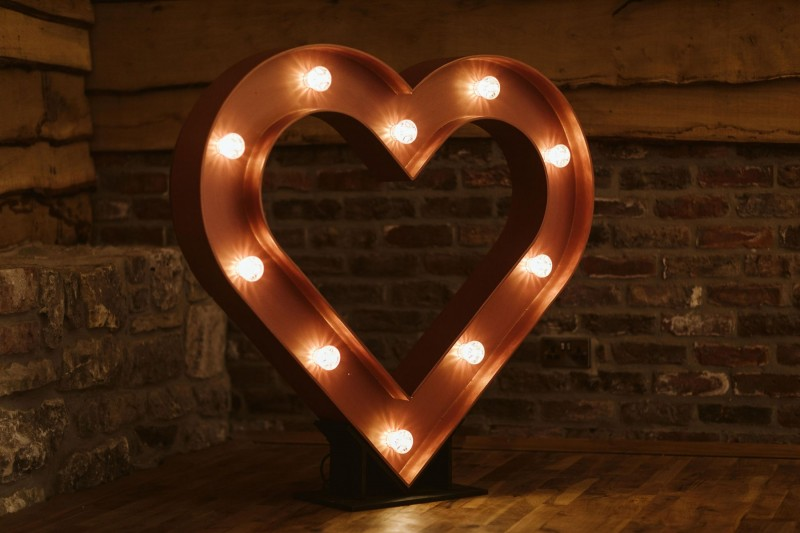 Rose Gold Light Up Heart Wedding Decor to Hire in Huddersfield Yorkshire