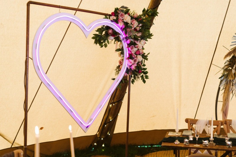 Pink Neon Heart Wedding Sign Hire Yorkshire