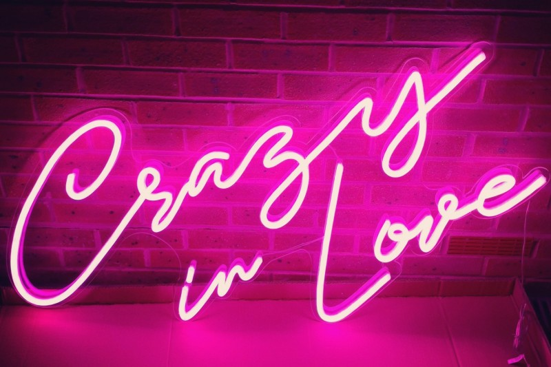 Pink Neon Crazy In Love Sign on Foliage Wall to hire across Yorkshire