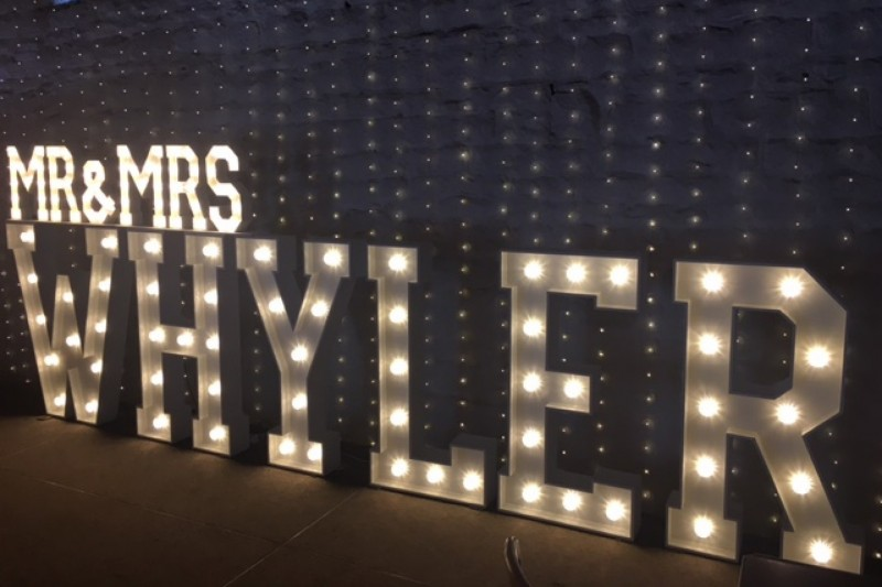 The best quality light up surname letters to hire in Wakefield, with small 'Mr & Mrs'